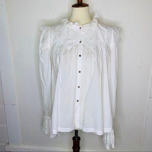 Aje White Cotton Eyelet Blouse. Size 8